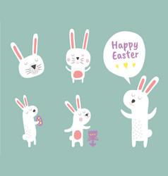 Easter bunny clipart set vector