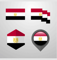 egypt flag design set vector image