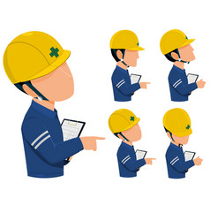 Engineer hold writing pad vector