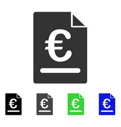 Euro invoice flat icon vector