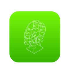 ferris wheel icon green vector image