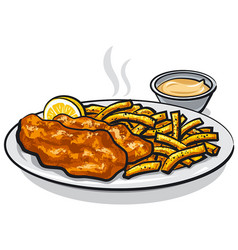Fish and chips with sauce vector