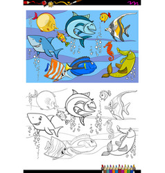 Fish characters group color book vector