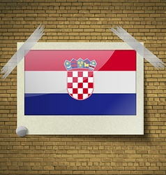 Flags Croatia at frame on a brick background vector image