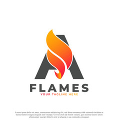 Flame with letter a logo design fire logo template vector