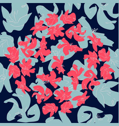 Flowers colors of a living coral pantone pattern vector