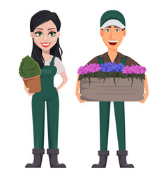 gardeners man and woman vector image