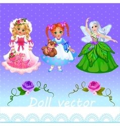 Girls doll and fairy on a purple background vector