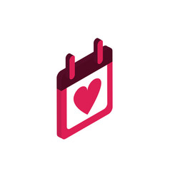 happy valentines day calendar date love isometric vector image