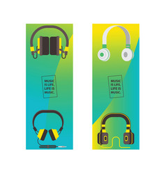 headphone headset listening to stereo sound music vector image