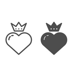 heart with crown line and glyph icon valentines vector image