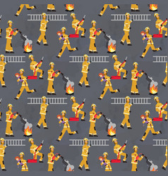 Image pattern groups firefighters at work vector
