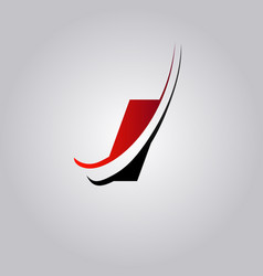 initial i letter logo with swoosh colored red and vector image
