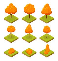 isometric colorful autumn trees set yellow orange vector image