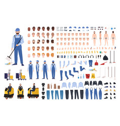 Janitor creation set or constructor kit bundle of vector