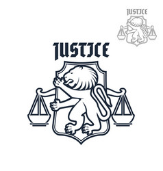 Justice and law heraldic lion scales icon vector