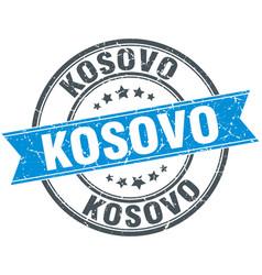 Kosovo blue round grunge vintage ribbon stamp vector