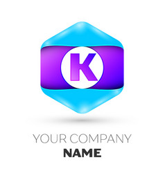 Letter k logo symbol in colorful hexagonal vector