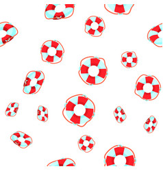 life buoy falling cartoon seamless pattern vector image