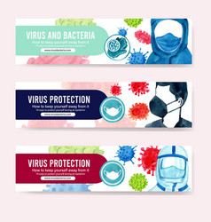 Medical banner design with bacteria man vector