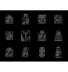 Mens perfumes white line icons set vector image