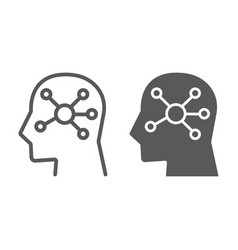 mind map line and glyph icon data vector image