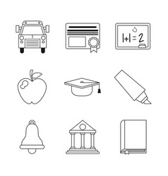Monochrome set silhouettes of education icons vector