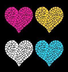 Mosaic hearts vector image