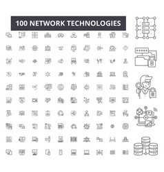 network technologies editable line icons 100 vector image