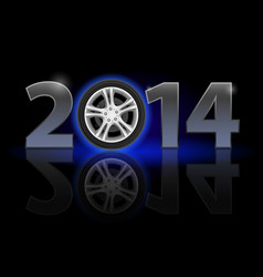 New year 2014 metal numerals with car wheel vector