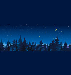Night spruce forest panorama vector