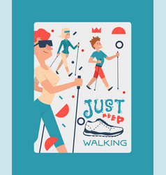 nordic walking people landing page leisure sport vector image