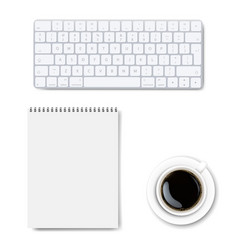 Office desk table with office accessories vector