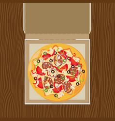 open pizza box flat style design - vector image