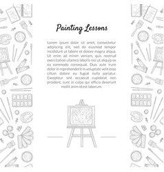 painting lessons banner template with place for vector image
