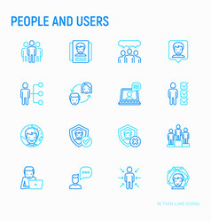 People and users thin line icons set vector