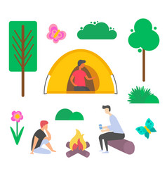 picnic people bonfire and tent plant vector image