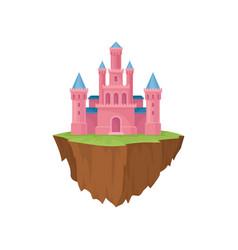 pink island castle majestic building in retro vector image