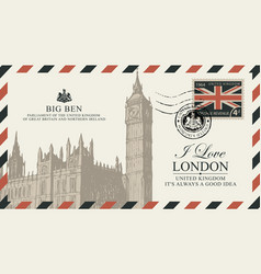 postcard or envelope with big ben in london vector image