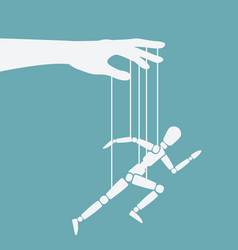 Puppet marionette on ropes is running man vector