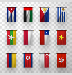 realistic flags countries symbolic 3d icons set vector image