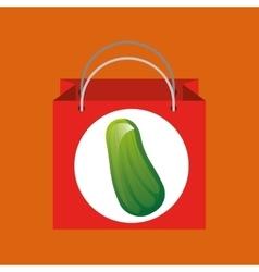 Red bag buying harvest cucumber vegetable vector