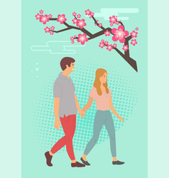 sakura blossom and cartoon teenagers holding hands vector image