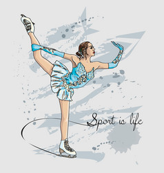 Scetch figure skater color vector