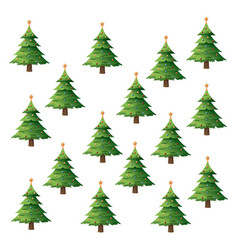 Seamless pattern christmas tree pine balls and vector