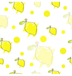 Seamless pattern with yellow lemons vector