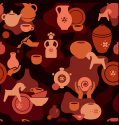 seamless pottery pattern with vases and others vector image