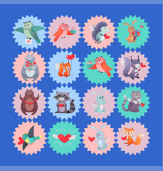 set icons with cartoon animal cupids vector image