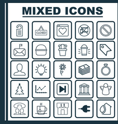 Set of 25 universal editable icons can be used vector