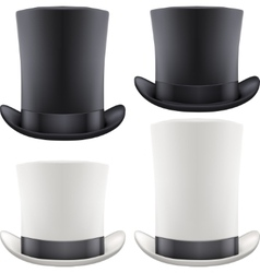 Set of big gentleman hat cylinder vector